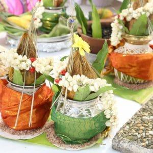 Cérémonie du riz pour une cérémonie hindoue