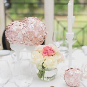Décoration de mariage blush et paillettes pour mariage haut de gamme
