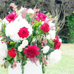 Bouquet de cérémonie rouge et blanc