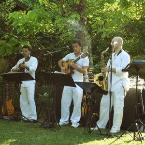 Groupe de jazz lors d'un cocktail de mariage au Pyla