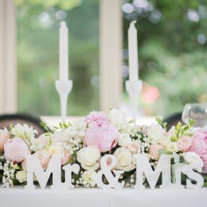 Mr et Mme pour table d'honneur de mariage