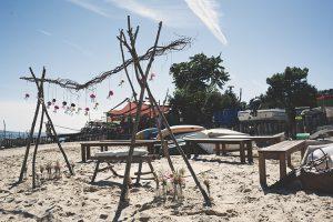 Arche de cérémonie sur la plage au Cap Ferret